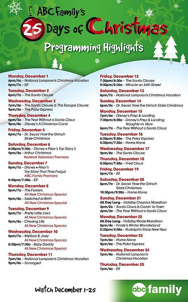 abc familys 25 days of christmas tv schedule - How The Grinch Stole Christmas Tv Schedule