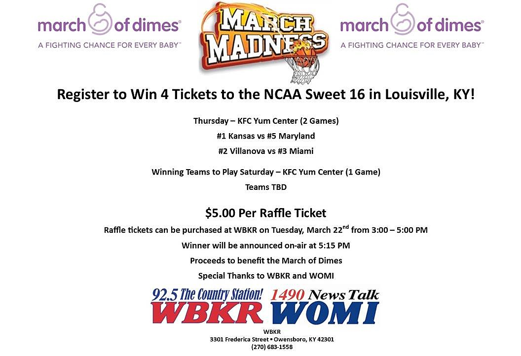 Win Ncaa Sweet Sixteen Tickets From The March Of Dimes