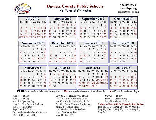 daviess county public schools 2017 2018 school calendar