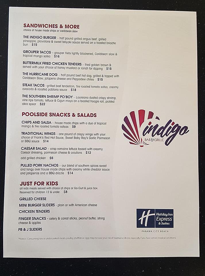 Indigo Bar And Grill Panama City Beach Menu